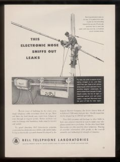 1952 Phone Lineman Photo Bell Telephone Labs Print Ad