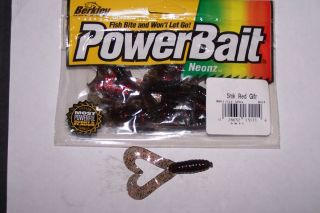 Berkley Powerbait 3in Twintail Grub Smoke Red Gltr Bass Fishing Lure