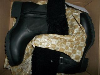 UGG Bellvue ll Black Fold Down Cuff Sheepskin Motorcycle Style Boots