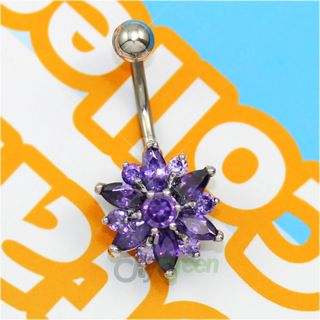 Barbell Navel Belly Button Ring Body Piercing Jewelry Purple