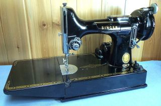 Vintage Singer Featherweight 221 Sewing Machine Art Deco w Manual Some