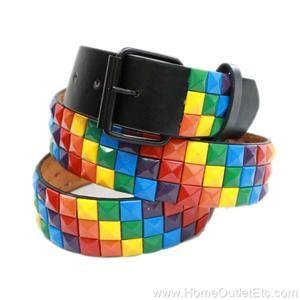 B646   Metal Pyramid Studded Leather Belt (Black Strap with Multi