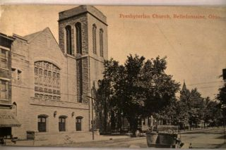 Car at Presbyterian Church Bellefontaine Ohio Oh Postcard V0808