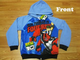 Ben 10 Hooded Spring Jacket Fourarms Blue Size XL Age 10 12