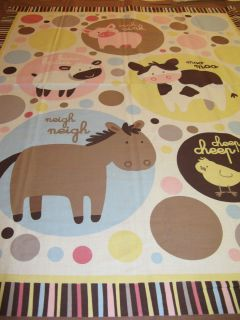 FARM ANIMALS Baby Quilt Cotton Fabric Panel Bethany Berndt Shackelford