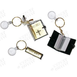 Holy Bible Keychain Magnifying Glass Miniature Copy Christian Key