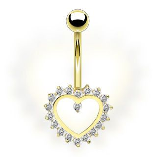 14k Solid Gold Belly Navel Ring Body Jewelry Heart Gem