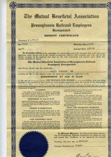 Pennsylvania Railroad Employees $1500 Benefit Certificate 1930
