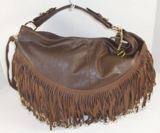 Big Buddha Brown Leather Like Large Hobo Shoulder Handbag Authentic