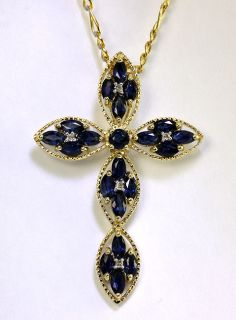 Ornate 1 75ct Diamond Marquise Sapphire Y G Cross Pendant Figaro Chain