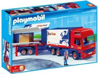 Playmobil 4323 Euro Trans Big Rig Truck Trailer Retired RC Compatible