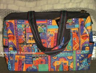 Laurel Burch Cat Feline Patchwork Collage Travel Tote Bag Beach Sports
