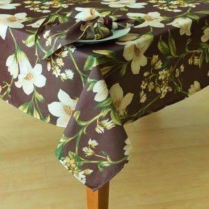 Galleria Dark Brown White Floral Print Tablecloth NIP