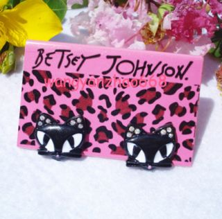 Betsey Johnson Cute Black Cat Stud Earrings