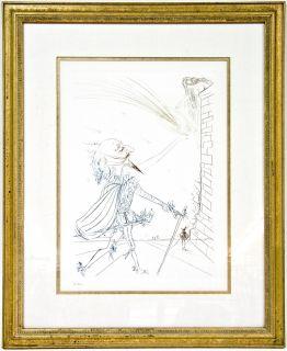 Signed Salvador Dali Cyrano de Bergerac Color Etching w Embossed
