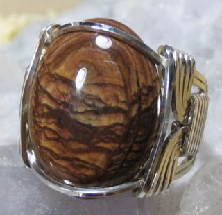 Biggs Jasper Silver Wire Wrap Ring Size 9
