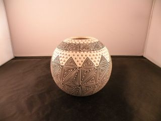 Vintage Acoma pueblo bowl, vase, pot. Native american pottery, by Ben