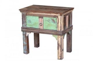 Reclaimed Wood Vintage Side Table 1 Drawer Restored Teak Planks