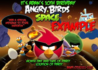 angry birds space birthday invitations 5x7 you print time left