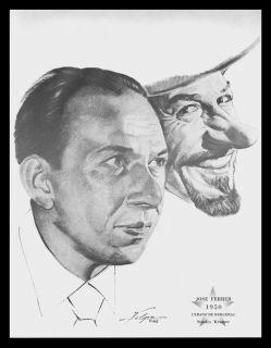 Jose Ferrer 1950 Oscar Cyrano de Bergerac Charcoal Print Nicholas