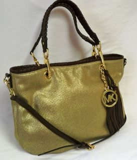 Michael Kors Bennet Medium Gold Canvas Tote Handbag With Brown Leather