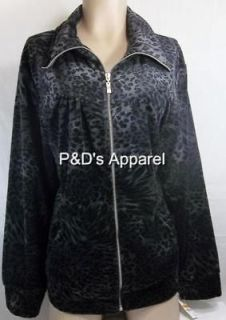 Plus Size Jackets Style & Co 1X 2X 3X Gray Leopard Print Jacket