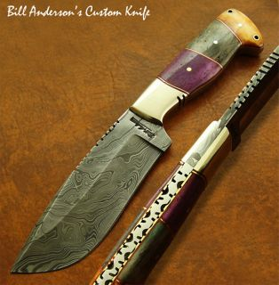 Bill Anderson 1 OF A KIND CUSTOM DAMASCUS SKINNING KNIFE FOSSIL