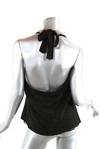 RUTH Black Wool Blend Sweater HALTER W/Bead & Velvet Trim GORGEOUS Ex