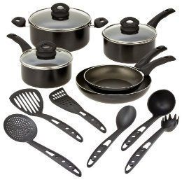 Bialetti Italian Gourmet Black Cookware Set 14 Pieces Soft Touch