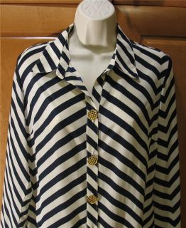 Bianca Coletti Black and White Striped Silk Shirt Dress M New $275 Ret
