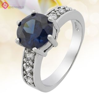Fashion Party Jewelry GP White Gold Blue Sapphire Round Cut Jewelry