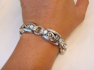 New Brighton BiBi Scroll Silver Crystal Bracelet