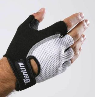 Santini Gel Cycling Bike Gloves Mitts Small White