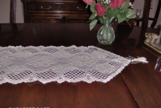 White Lace Floral Table Runner Dresser Scarf 13X45