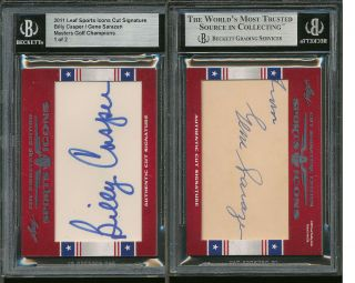 2011 BILLY CASPER / GENE SARAZEN LEAF SPORTS ICONS CUT SIGNATURE GOLF
