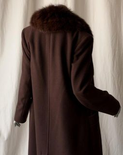 Bill Blass Long Brown Cashmere Fur Maxi Coat Jacket M