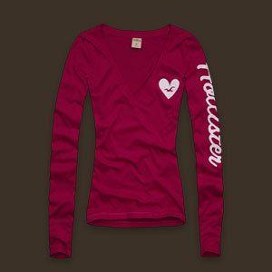 Abercrombie Dark Pink L s V Neck Big Arm Logo Top Shirt Tunic L