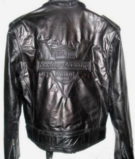Davidson Leather Jacket Vintage Heritage Embossed Mens Medium runs Big