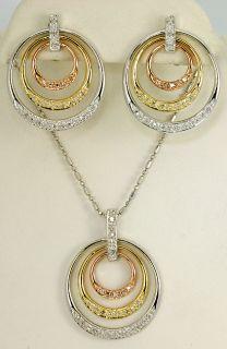 3CIRCLE 85ct Pave Set Diamond 14k Tricolor Gold Necklace Earrings Set