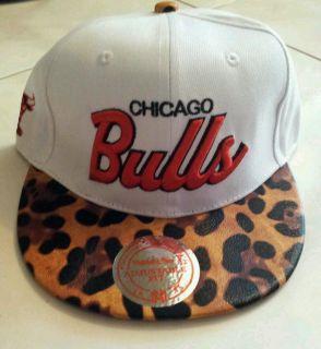 Bulls Custom Handmade Leopard White Snapback Hat Mitchell & Ness
