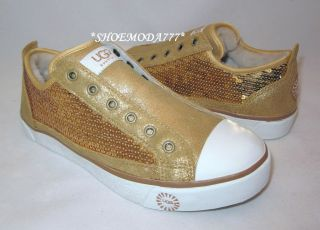 UGG Laela Sparkles Sneaker Shoes Gold New US 6 7 8 8.5 9.5 10 11 (4.5