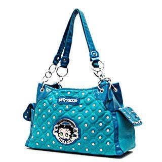 Betty Boop Signature Quilted Studs Side Pockets Satchel Handbag Purse