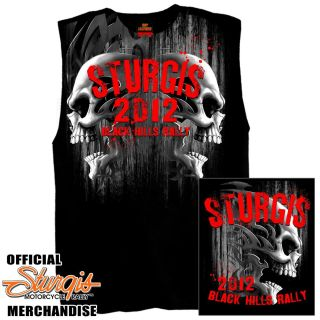 2012 Sturgis Bike Motorcycle Rally Black Shooter Sleeveless T Shirt Sz