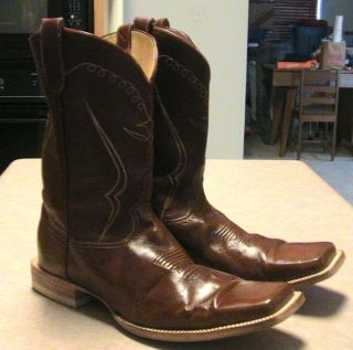 Mens 12 D Bilbo Brown Leather Square Toe Western Cowboy Boots