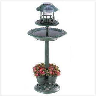 Birdbath Bird Feeder Planters Solar Light Garden Decor