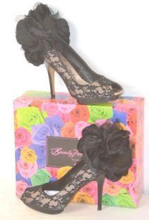 Beverly Feldman Size 8 5M Womens Black Lace Drama Queen Platform Pump
