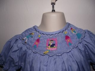Bishop Hand Smocked Blue Gingham Rapunzel Dress 12 Months