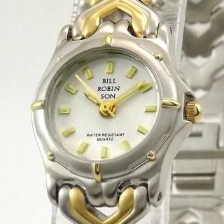 Bill Robinson Womens Round Two Tone White Dial Bracelet Watch New