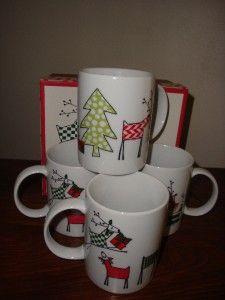 BIA Cordon Bleu Reindeer Christmas Mug Set of 4 New