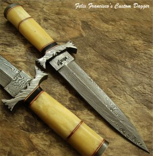 Steve William 1 of A Kind Custom Damascus Art Dagger Knife Real Camel